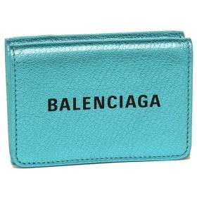 【送料無料】バレンシアガ 財布 BALENCIAGA 551921 00R1N 4260 EVERYDAY MINI WALLET METALLIC EFFECT レディース 三つ折り財布 無地 TURQUOISE/NOIR 青
