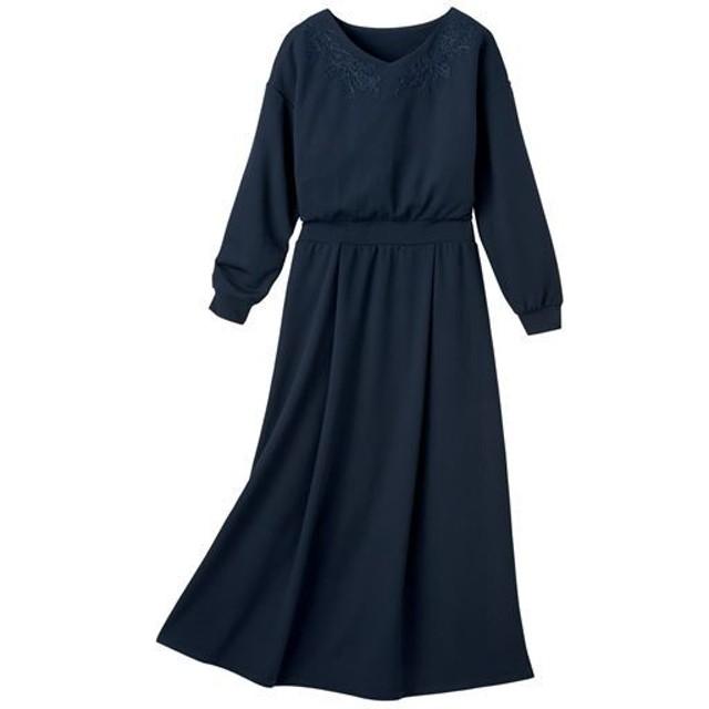 【レディース】 衿ぐりコード刺繍ワンピース - セシール ■カラー:ダークネイビー ■サイズ:S,M,3L,L,LL