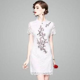 チャイナドレス風ワンピース キュート レース 刺繍 半袖 花柄 スカラップ ミニ丈 透け感 エレガント キュート パーティー 結婚式