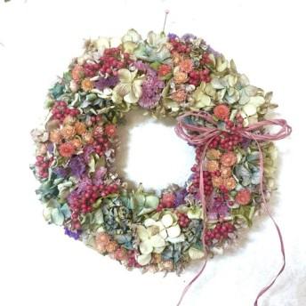【再販、受注制作】紫陽花とペーパーベリー&千日紅のノスタルジックリース