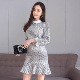 白襟&白カフス モノトーン 裾フレア セットアップワンピース