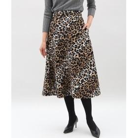 INED L / イネド(エルサイズ) 《大きいサイズ》レオパード柄フレアスカート《SUPERIOR CLOSET》