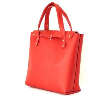 在庫限 本革 トートバッグ 大 赤 Red leather tote bag