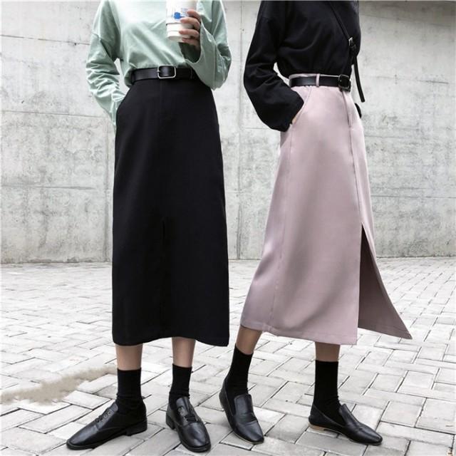 新作追加 高品質で 正規品 韓国ファッション 着痩せ効果抜群 ハイ スリム セミスカート スプリット 学院風/カレッジ風 ミディアムレングススカート