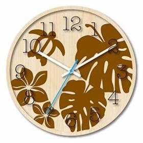 木製文字盤がおしゃれな ハワイアン クロック 掛け時計 モンステラ[TW-1183MO](ブラウン)