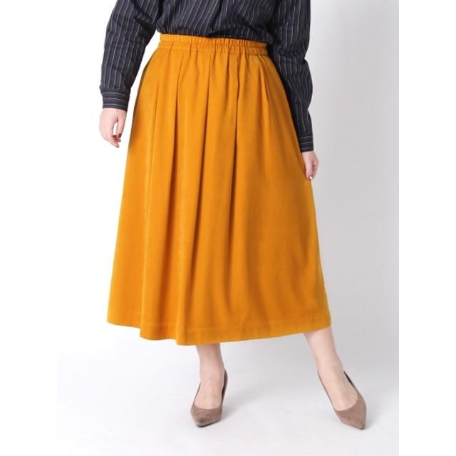 【大きいサイズレディース】【3-7L】【日本製】ピーチスキン無地ロングスカート スカート ロングスカート