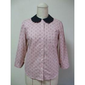 【セール品】黒丸衿×薄いピンク地バラ柄プリント 7分丈袖ブラウス 綿100% Mサイズ