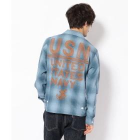 【30%OFF】 アヴィレックス TYPE BLUE/USN ユーティリティ刺繍シャツ/EMBROIDERED UTILITY SHIRT メンズ W/USED L 【AVIREX】 【セール開催中】
