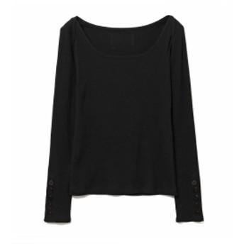 RBS / テレコ ソデボタン ラウンドネック◇ レディース Tシャツ BLACK ONE SIZE