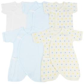 [半袖・七分袖]新生児肌着5点セット スナップ サックス インナー・パジャマ 新生児・乳児(50~80cm) 新生児肌着セット (51)