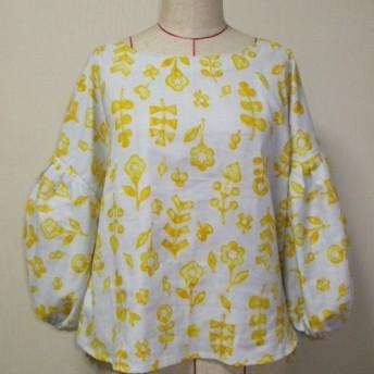 お花柄 ラウンドネックバルーン8分丈袖プルオーバー M~LLサイズ 薄いグレー色 受注生産