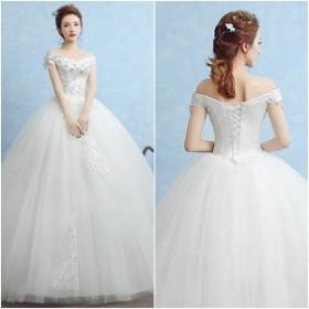 ウェディングドレス 白 オフショルダー 結婚式 Vネック 雪結晶 激安 披露宴 秋冬 プリンセス
