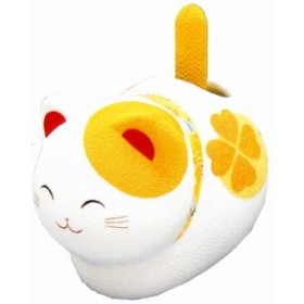 「Pケース入り ゆらゆらソーラー風水座り猫 黄 金運 敷物付」手作りちりめん細工 和みの和雑貨 置物