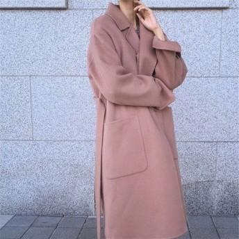 新作追加 高品質で 正規品 韓国ファッション 大人の魅力 上品 女性らしい 気質ラペル ベルト 大ポケット ストレート バックルなし ゆったり コート