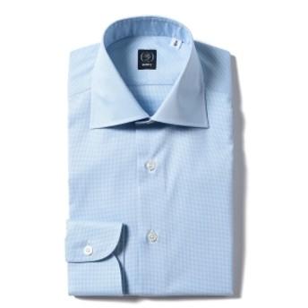 BEAMS F / ハウンドトゥース ワイドカラーシャツ メンズ ドレスシャツ SAX/2 39