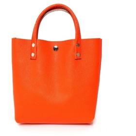 在庫限 本革 ランチバッグ オレンジ Leather lunch bag orange