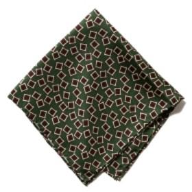 BEAMS PLUS / スクウェア 小紋柄 シルク チーフ メンズ ハンカチ・バンダナ GREEN ONE SIZE