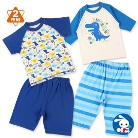 ベビー服 男の子 夏 2枚組7分袖+半袖セットパジャマ(恐竜) 80cm・90cm・95cm 赤ちゃん ベビー 新生児 乳児 幼児 子供服 おしゃれ