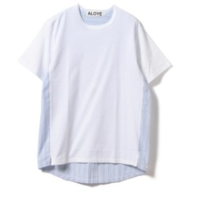 ALOYE / Shirt Fabrick Tee 19SS メンズ Tシャツ AY05629(White-Blue Stripe) L