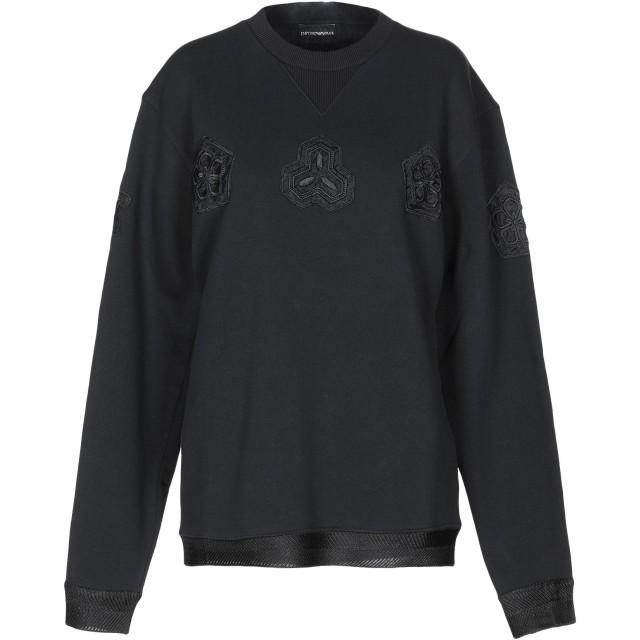 《セール開催中》EMPORIO ARMANI レディース スウェットシャツ ブラック S コットン 100%