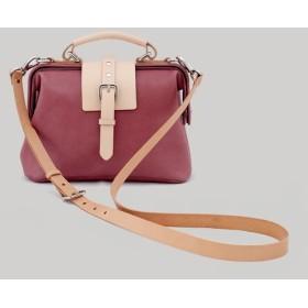 二つ ラズベリー赤口金袋/大容量ドクターバッグ/レザーサイドバック/抹茶グリーン/ギフト優先