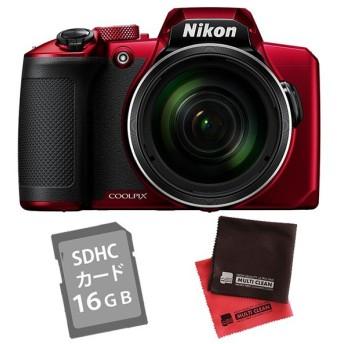 (SD16GB&クロス付き)ニコン コンパクトデジタルカメラ COOLPIX B600 レッド (Nikon) (メール便不可)
