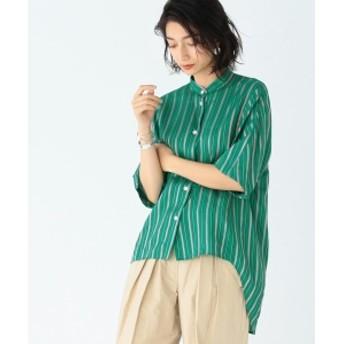 CINOH / 別注 スタンドカラー シャツ レディース カジュアルシャツ GREEN/PINK 36