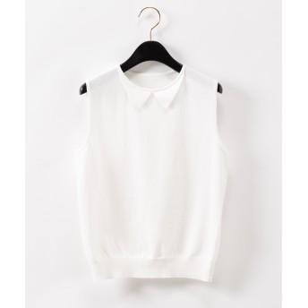 【オンワード】 GRACE CONTINENTAL(グレースコンチネンタル) 衿付ニットノースリーブ ホワイト 36 レディース
