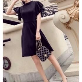 パーティー ドレス シンプル 袖あり フレア ワンピース ミニ丈 mme4250