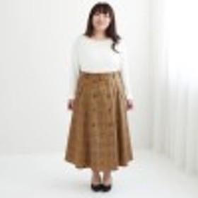 チェック柄トレンチ風フレアスカート