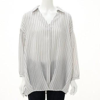 シャツ ブラウス レディース ふんわりタケノコタックのスキッパーストライプシャツ 「オフホワイト」