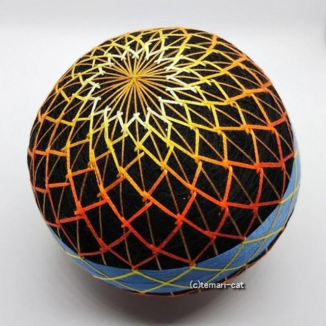 てまり「花火」黒地、黄橙、青帯 手まり 手毬 手鞠