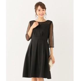 L size ONWARD(大きいサイズ) / エルサイズオンワード 【洗える】ビスチェ風ドットチュール ドレス