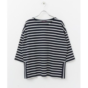 【50%OFF】 アイテムズ アーバンリサーチ ボーダールーズシルエットTシャツ レディース NVY×OFF FREE 【ITEMS URBANRESEARCH】 【セール開催中】
