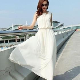 ドレス マキシ丈 ソリッドカラー シンプル ふんわり ロング チュール 無地 リゾート ノースリーブ シフォン 大きいサイズ レディース