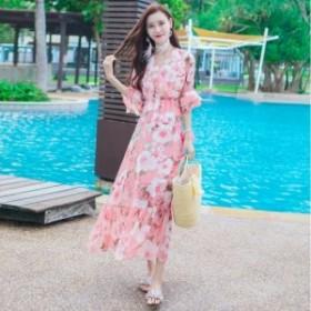 ワンピース 花柄シフォンシースルーワンピース 上品フリル袖ドレス エレガントドレス 18040801