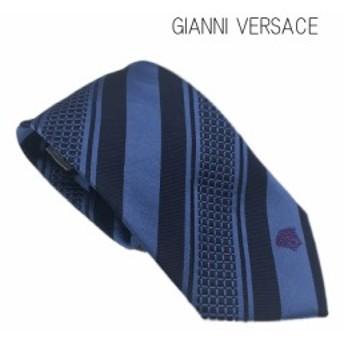 【中古】【未使用品】ジャンニ・ヴェルサーチ イタリア製 クラシック ネクタイ シルク ストライプ