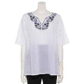 63%OFF artipur (アルティプール) フローラル刺繍プルオーバー ホワイト