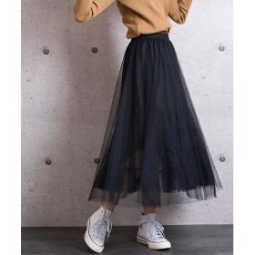 ジュエローブ Jewelobe チュールレイヤードスカート (ブラック)