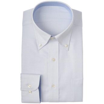 メンズ セブンプレミアム 超形態安定100番手双糸 青ドビー ボタンダウンシャツ(レギュラーシルエット)