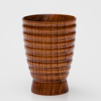 天然木製 轆轤筋入りカップ 木目 漆塗り