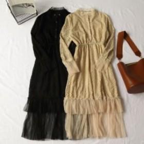 レース メッシュ プリーツ ワンピースドレス 2色展開 パッチワーク柄 長袖 透け感 エレガント フェミニン お食事会 お呼ばれコーデ