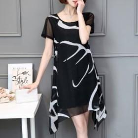 ワンピース シフォン イレギュラー裾 シースルー フォーマル 大人かわいい ドレス ワンピース  18050912
