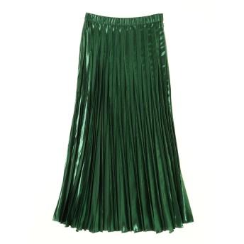 UN3D. オリガミプリーツラメスカート ロング・マキシ丈スカート,グリーン