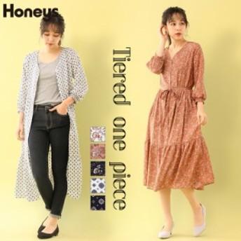 Honeys 花柄 ロング シャツワンピース レディース