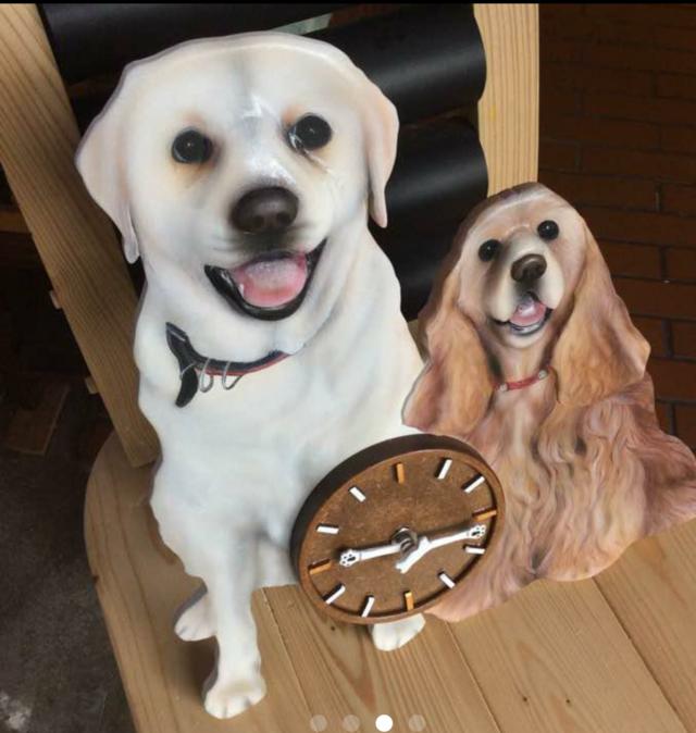 プレゼント 手作り時計 送料無料 ペット 時計 似顔絵時計 かわいい時計 リアル ワンちゃん時計 3D 似顔絵 犬グッズ サプライズ オーダーメイド時計 立体時計 愛犬 壁掛時計 オーダー 立体