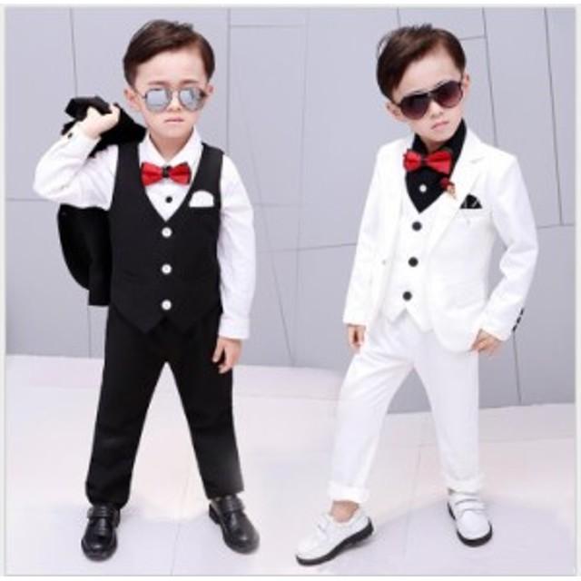 abf15485d1565 男の子スーツ キッズスーツ 演奏会 80~140 子供服スーツ 4点セット ...