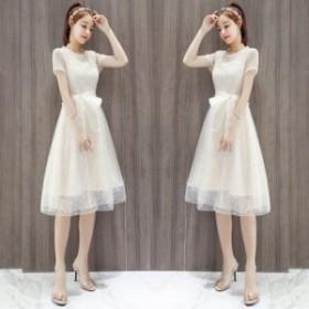 ワンピース シースルー リボンウェスト シフォン フレアスカート フリル襟 ドレス ワンピース