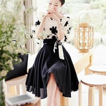 ワンピース 膝丈 花柄 大人ガーリー 二次会 パーティー 切り替え リボン 長袖 刺繍 ツーピース スリム ホワイト 大きいサイズ ドレス