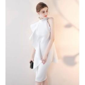 タイトドレス 膝丈 ドレス タイトスカートドレス結婚式 ドレス お呼ばれ ワンピースノースリーブ 20代 30代 ハイネック エレガント